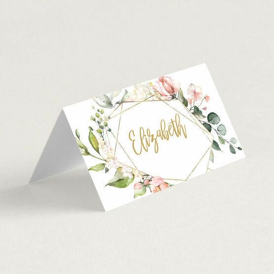White, Blush Pink & Rose Gold Floral Frame Wedding Place Card