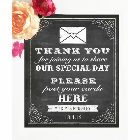 Vintage Chalkboard Wedding Post Box Sign/Poster