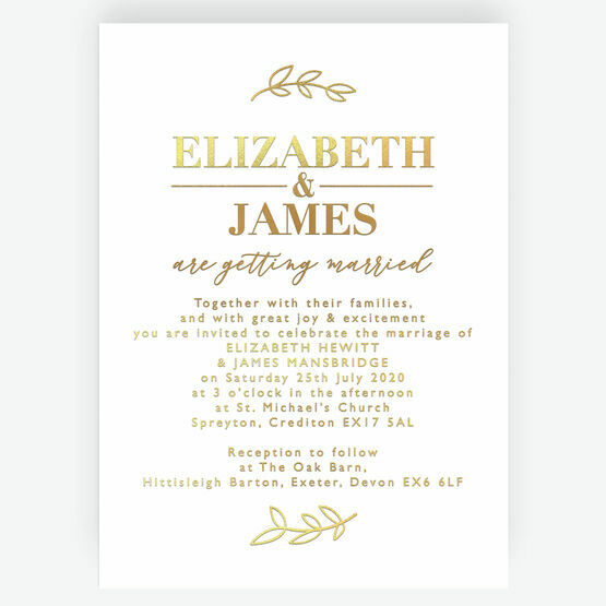 Real Foil Printed Leaf Motif Wedding Invitation