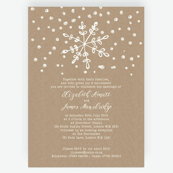 Rustic Snowflake Festive Wedding Invitation