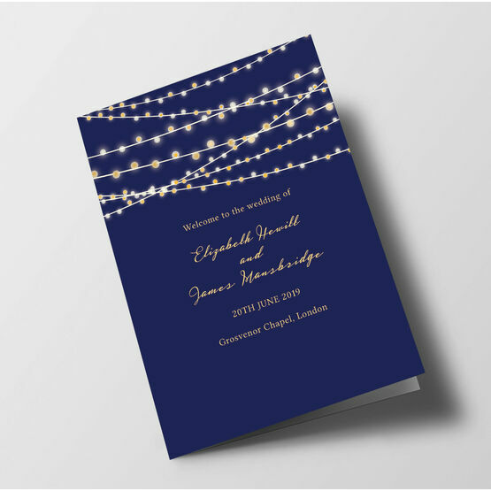 Navy & Gold Fairy Lights Order of Service Booklet