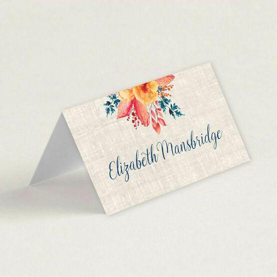 Autumn Orange Floral Wedding Place Cards