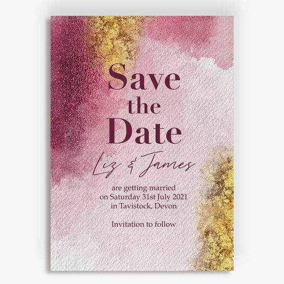 Plum & Gold Save the Date