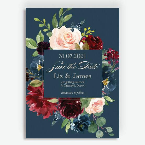 Navy, Burgundy & Blush Floral Frame Save the Date