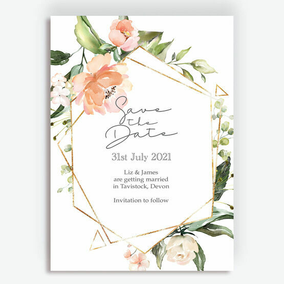 Blush & Gold Geometric Floral Save the Date