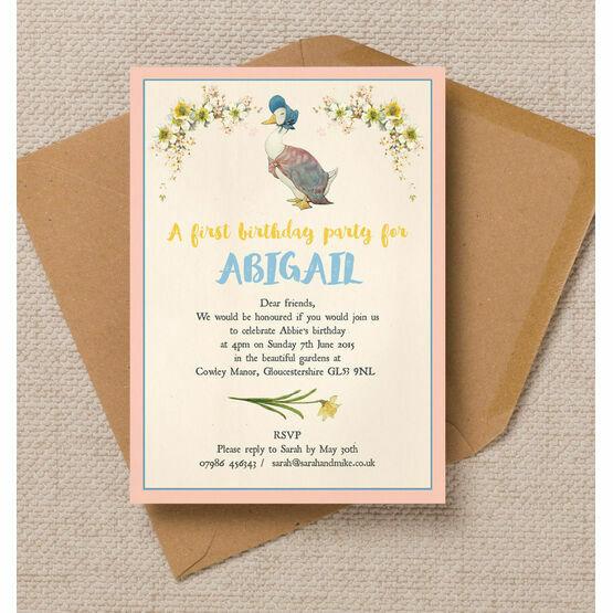 Beatrix Potter's Jemima Puddle-Duck Party Invitation