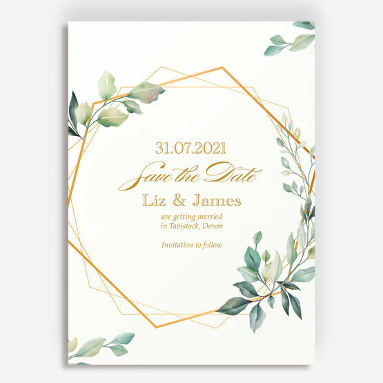 Gold and Greenery Geometric Save the Date
