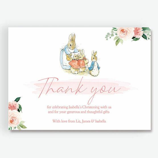 Beatrix Potter Flopsy Bunnies Thank You Card - Floral