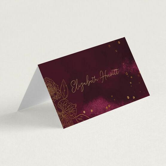 Burgundy & Gold Floral Outline Place Cards