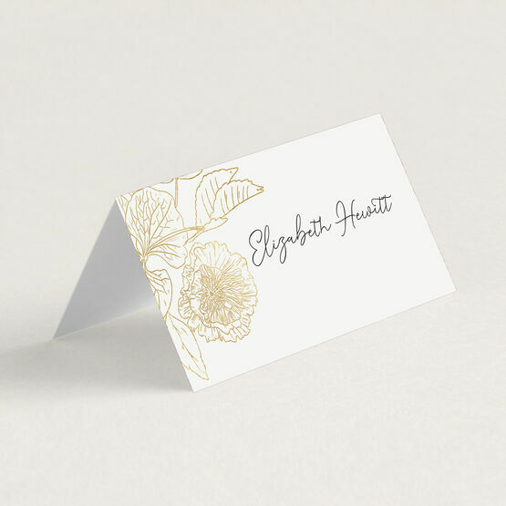 White & Gold Floral Outline Place Cards