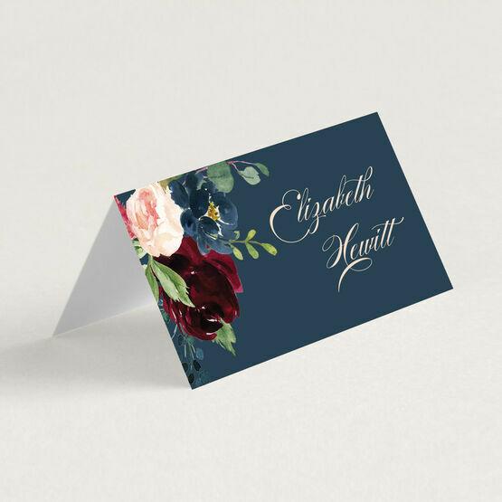 Navy, Burgundy & Blush Floral Place Cards