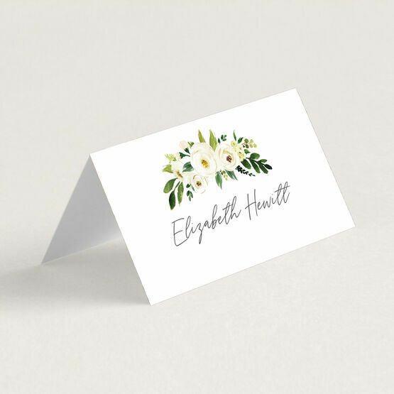 White & Green Floral Frame Place Cards