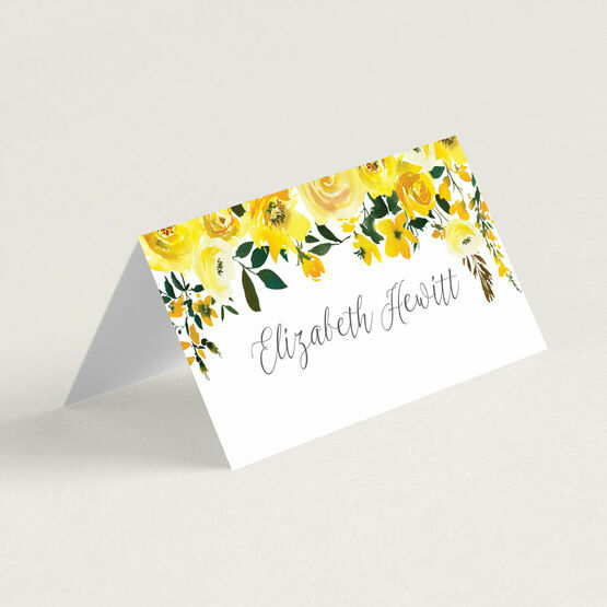 Yellow Floral Place Cards