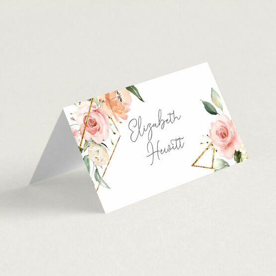 White, Blush & Gold Geometric Floral Place Cards