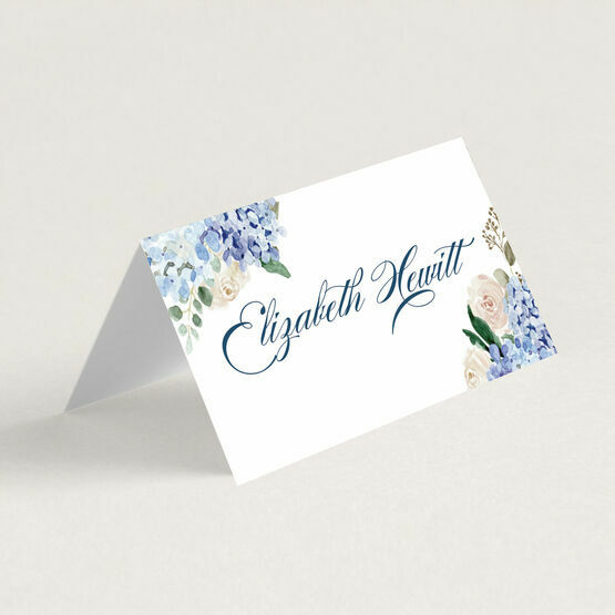 Blue Hydrangea Place Cards