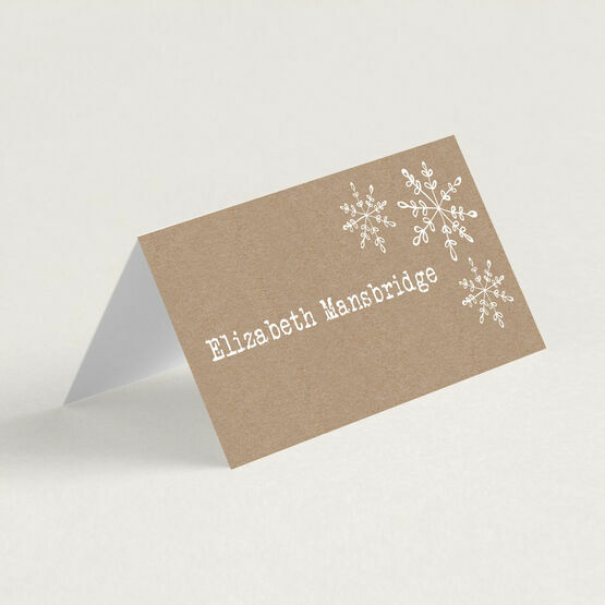 Rustic Snowflake Winter Place Card