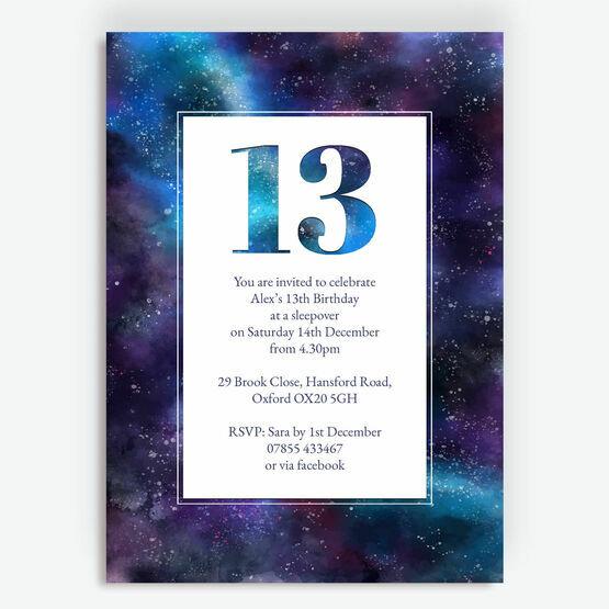 Star Galaxy Sleepover Birthday Party Invitation