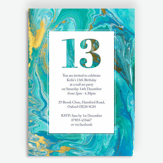 Teal Marble Birthday Party Invitation