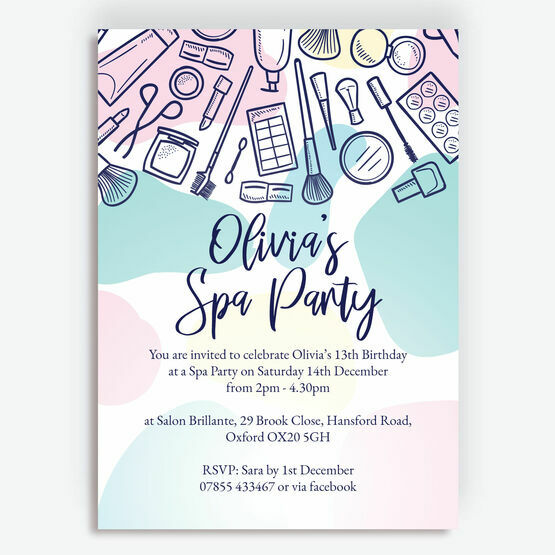 Spa / Pampering / Make Up Birthday Party Invitation
