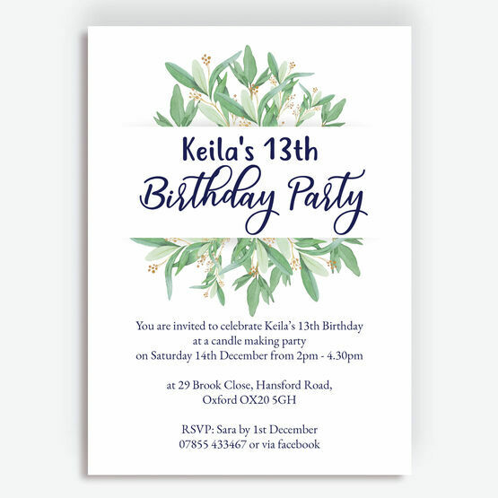Greenery / Leaves Birthday Party Invitation