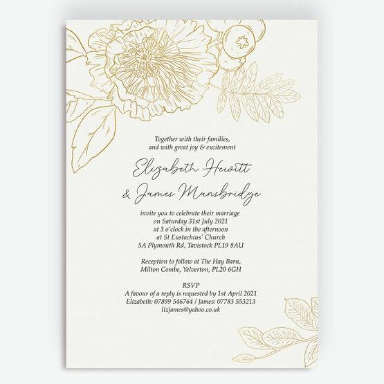 White & Gold Floral Outline Wedding Invitation