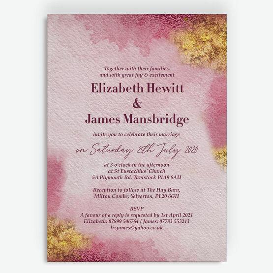 Plum & Gold Wedding Invitation