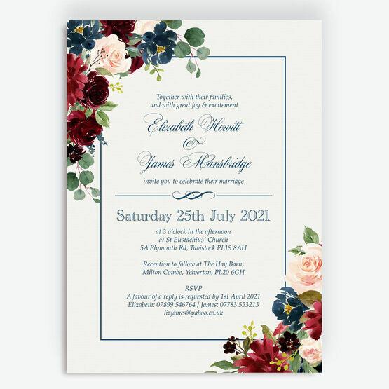 Navy, Burgundy & Blush Floral Frame Wedding Invitation