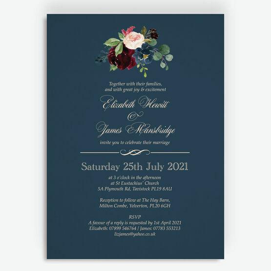 Navy, Burgundy & Blush Floral Wedding Invitation
