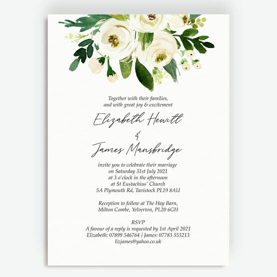 White & Green Floral Frame Wedding Invitation
