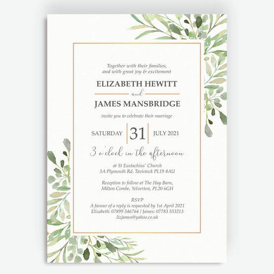 Greenery Frame Wedding Invitation