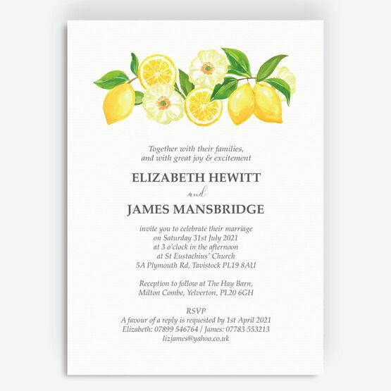 Watercolour Lemons Wedding Invitation