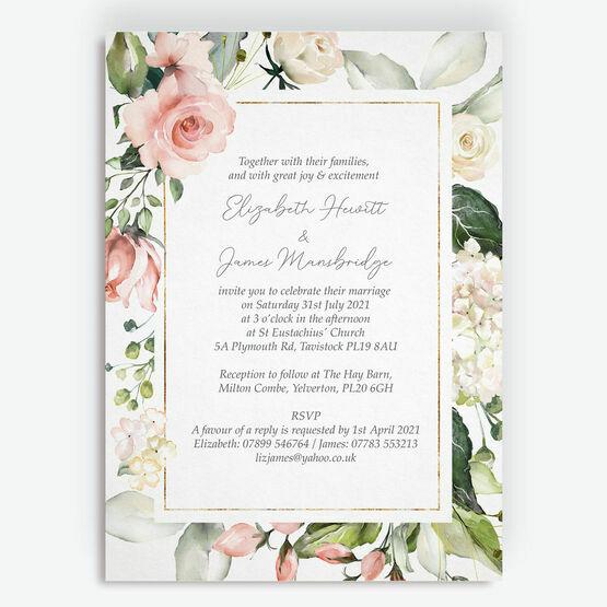 Blush & Gold Geometric Floral Wedding Invitation