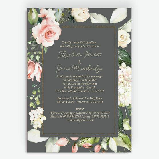 Charcoal, Blush & Gold Geometric Floral Wedding Invitation