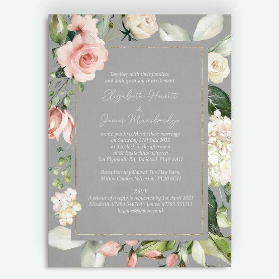 Dove Grey, Blush & Gold Geometric Floral Wedding Invitation