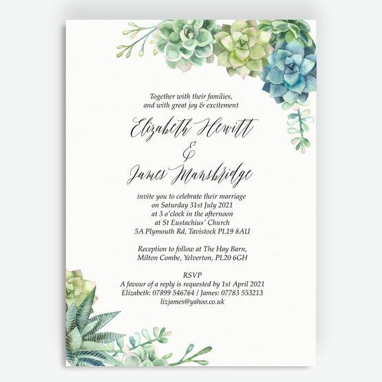Watercolour Succulents Wedding Invitation