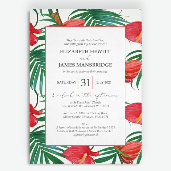 Tropical Red Anthurium Flowers Wedding Invitation