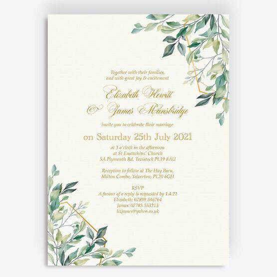 Gold & Greenery Geometric Wedding Invitation