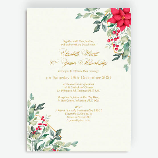 Poinsettia Flowers Winter Wedding Invitation