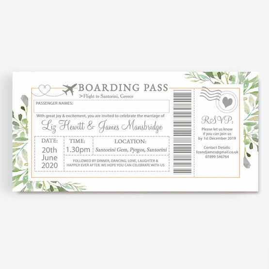 Greenery Boarding Pass Wedding Invitation