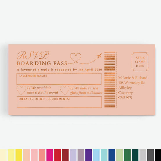 Foil Printed Boarding Pass RSVP