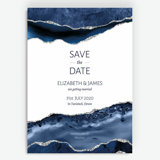 Navy Blue & Silver Watercolour Agate Save the Date