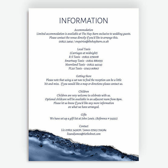 Navy Blue & Silver Watercolour Agate Information Card