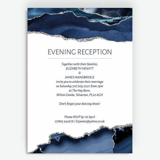 Navy Blue & Silver Watercolour Agate Evening Reception Invitation