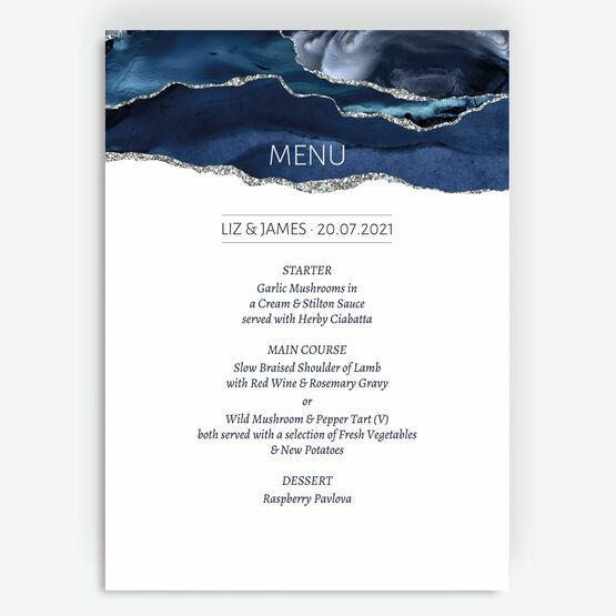 Navy Blue & Silver Watercolour Agate Menu
