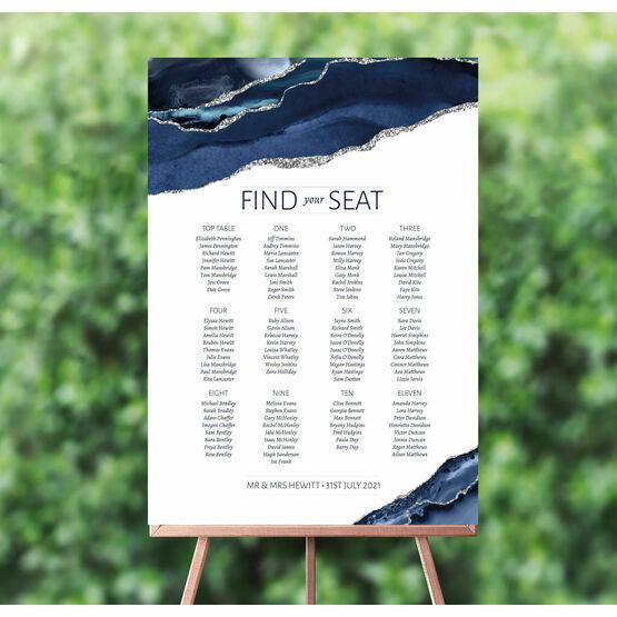 Navy Blue & Silver Watercolour Agate Wedding Seating Plan
