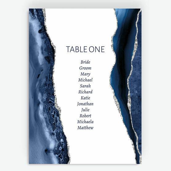 Navy Blue & Silver Watercolour Agate Table Plan Card