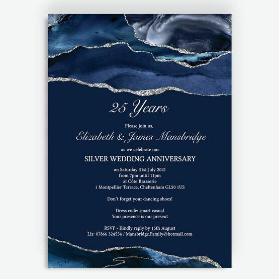 Navy Blue & Silver 25th Wedding Anniversary Invitation