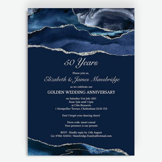 Navy Blue & Silver 50th / Golden Wedding Anniversary Invitation