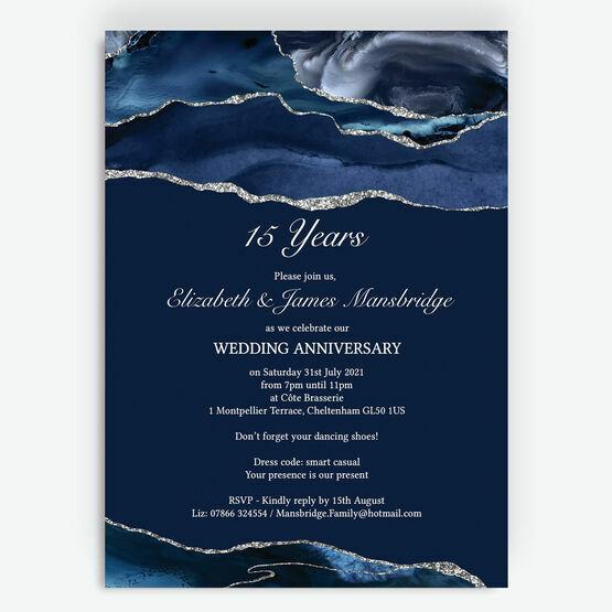 Navy Blue & Silver Watercolour Agate Wedding Anniversary Invitation
