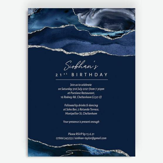 Navy Blue & Silver 21st Birthday Invitation